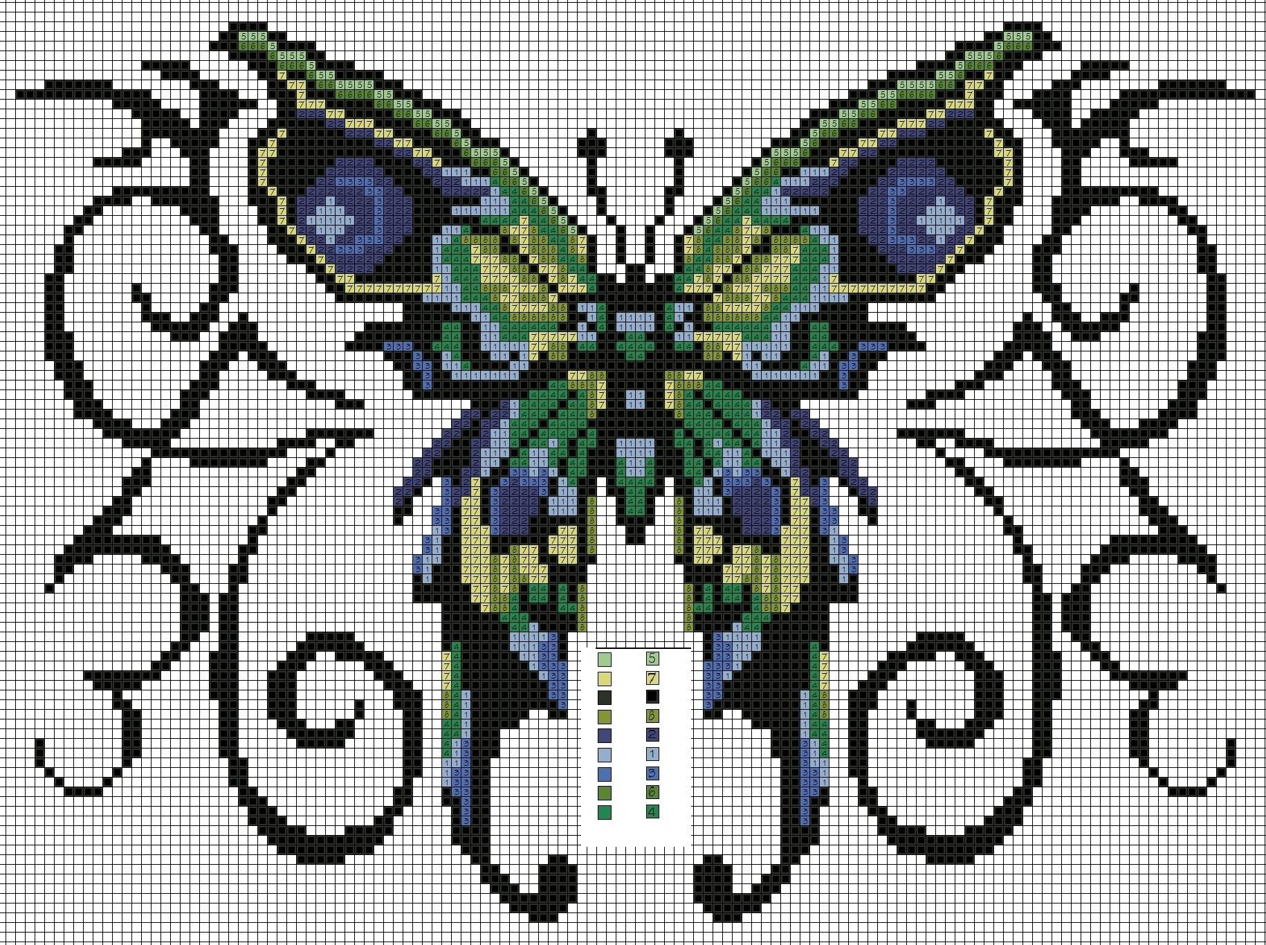 Вышивка бабочки на вязаных изделиях 28