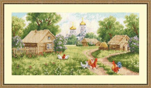 Схемы вышивки деревенских пейзажей 1